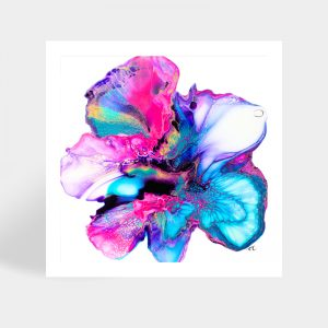Shelee Art Island Bloom fluid art square print available to purchase online